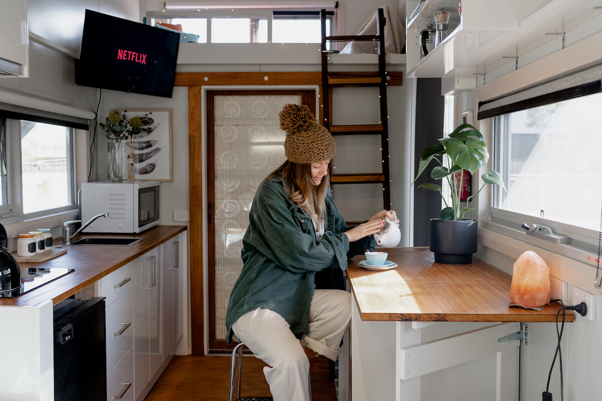 breakfast bar within australian contemporary tiny home